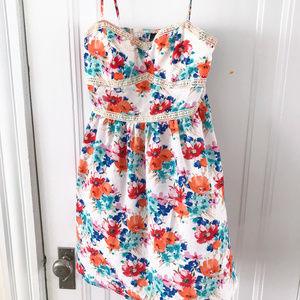 Trixxi Floral Skater Dress with Lace Trim